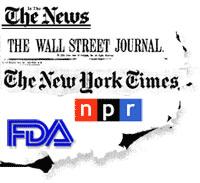 Image of multiple news organization logos including NPR, New York Times, Wall Street Journal.